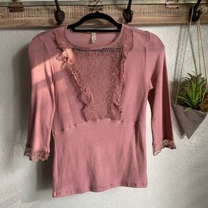 Free People blush pink 3/4 sleeve top